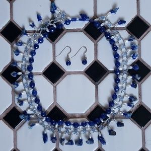 Blue Statement Necklace with matching Earrings